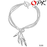 OKP JEWELRY Free Shipping 925 sterling silver WOMEN bracelet with tassels design sweety style, nickel free 188
