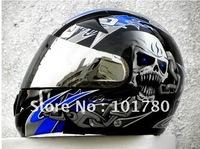 FREE SHIPPING MASEI 816 DOT MOTORCYCLE HELMET CHROME BLUE SKULL