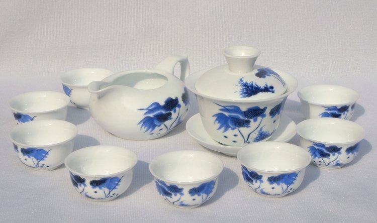 10pcs smart China Tea Set Pottery Teaset Gold Fish TM15 Free Shipping