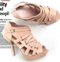 free shipping 2011 new Fashion Personality crossover belt fish with shoes/mouth high platform sandals and waterproof naked boots