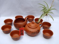 Clay teaset, 10pcs smart Zisha Gongfu Tea Set,ZT01, Free Shipping