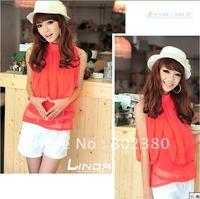 2011 Newest Free Shipping New style Euramerican fashion chiffon shirt Woman's shirt,Fashion Clothing