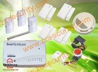 tri-band wireless and wired GSM burglar alarm system with 3 PIR + 4 door sensor+1 smoke alarm free shipping