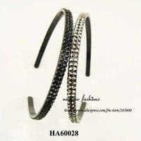Free shipping! Wholesale-24pcs/lot headband with 2 row rhinestone 2color mixed