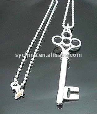 Wholsale new 925 Sterling Silver fashion jewelry key necklace free shipping Penoyjewelry I172(Hong Kong)