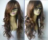 NEW long red curly human made hair women's full wigs