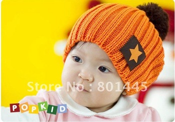 Newly Children Cap Baby Cap Cute candy color fashionable Star Ski Cap 4M to 6Years Retail Wholesale Free Shipping