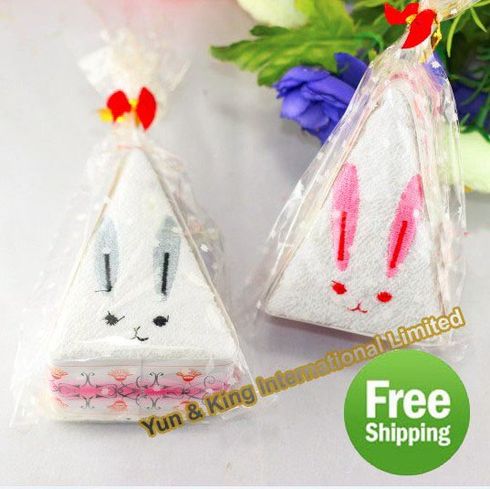 New Arrival~Free Shipping Wholesale 60pcs new cute gift rabbit towel cake(China (Mainland))