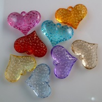 Free shipping 140 pcs/lot 18x24.5mm Heart shape Acrylic pendants jewelry pendants Mixed color