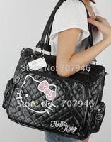 Free Shipping Retail Black Hello Kitty girls tote shoulder bag handbag purse