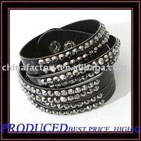 4lines Black Roll Up  Rhinestone Leather wrap Bracelet