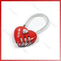 C18Mini Resettable Combination Padlock Heart Lock 3 Digits