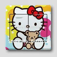 Hot sale!free shipping!240pc/lot,9*9cm,fashion cartoon Kitty switch sticker,decoration switch paper wall sticker