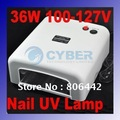 36W 100V-127V Gel Curing Nail Art UV Lamp White + 4 x 9w Tube Light Bulbs Free Shipping