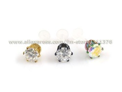 "LOT 16g 3/8"" Clear Flexible Labret/Monroe/Tragus with 6mm CZ Prong Set Top, Body Piercing Jewelry(China (Mainland))"
