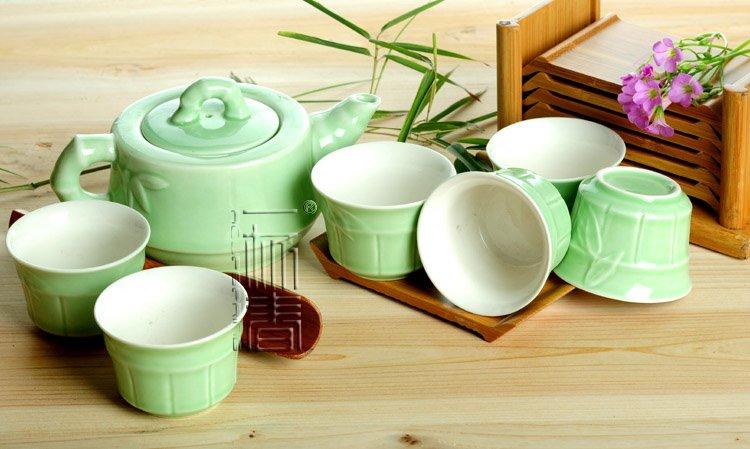 7pcs Deluxe Tea Set Porrtery Teaset Bamboo TL05 Free Shipping