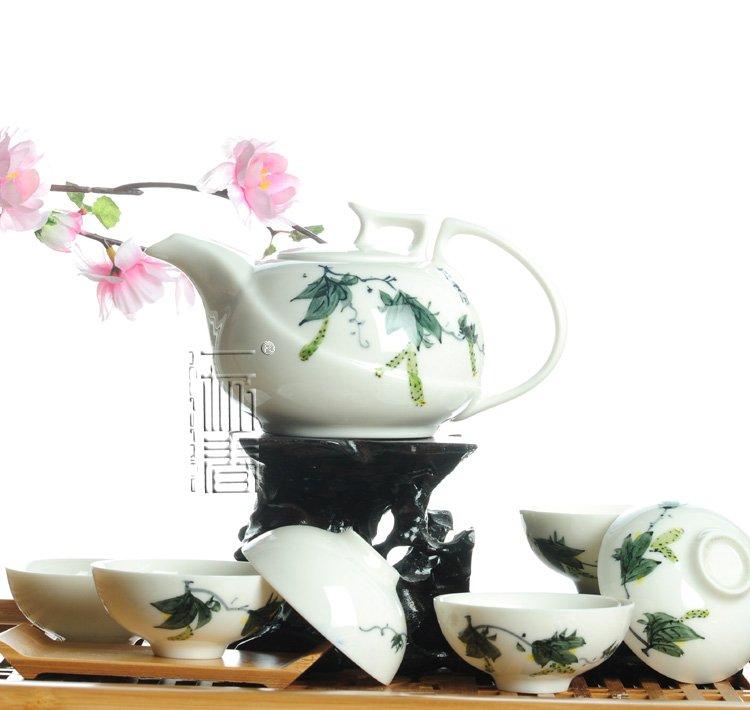 7pcs Deluxe Tea Set Porrtery Teaset Loofah TY02 Free Shipping