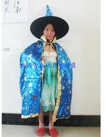 Halloween costumes children dress up the witch cloak witch suit witch cloak + hat (golden