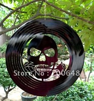 Wholesale:wind spinner--skull with black rose.