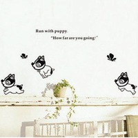 Free shipping,Decorative PVC wall stickers, Run with puppy,Cartoon stickers,Children's gift,TC1104