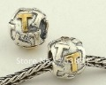 925 sterling silver initial letter alphabet T charm bead fit for European bracelets