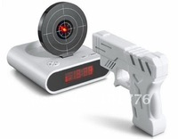 Free shipping--Gun O'clock, alarm clock with laser target,Gun Alarm Clock With LED Display Table Clock
