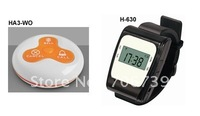 wireless paging system, a system consist of 10pcs table bell H3-WG  and 2 watch receiver H-630