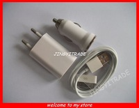 3 in 1 USB car charger AC charger USB data cable usb mobile charger for iphone4S/4/3G free shipping 8977