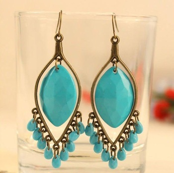 12pair/lot Free shipping! Bohemian style restore ancient ways earrings,Water droplets bead tassels earrings,Wholesale price