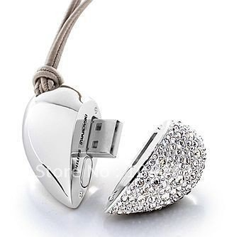 Free Shipping usb disk Guaranteed Full Capacity Crystal Heart of Love USB Flash Memory Drive,Model:UD19