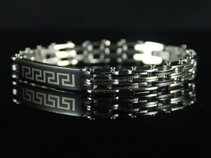 Free shipping&wholesale Christmas gift B571 Stainless Steel Bike Chain Greek Key Bar Bracelet(China (Mainland))