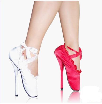 Free shipping,hot sale,red and white ballet shoes,dancing shoes,18cm high heels(China (Mainland))