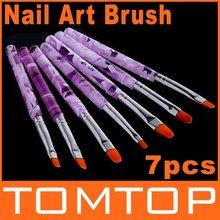 Promotions ! 7 Sizes Professional UV Gel Brush Nail Art Painting Draw Brush Free Shipping Dropshipping(China (Mainland))
