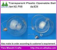 Free Shipping 96pcs/lot 8CM Openable Transparent Christmas Ball PW8