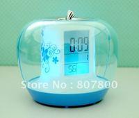 Free Shipping Newest Apple Shape Alarm Digital LED Clock, Colorful Magic Desktop Watch Electronic Gifts Clock