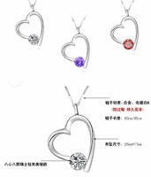 free shipping 12pcs/lot wholesale fashion love heart 925 sterling silver pendant new arriving heart necklace fashion jewelry