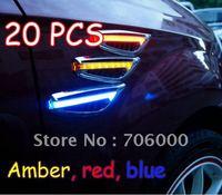 Wholesale 20pcs 2pcs=1set Brand New 12V AUTO / CAR LED Side Lights Lamp / Marker Turn signal Lights Amber, red, blue Free EMS