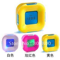 Good Quality New Fashion Four Side Clock+ Alarm clock+ Table Clock Temperature Calender Desktop Digital LED Clock Best Gifts