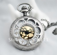 Free shipping/Mix order, Wholesale Men's&Women's Antique Brass Bronze Pocket Watches Charms Pendant Necklace Nickel Free!!