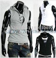 promotional New fashion Men's Sleeveless Hoody Vest cotton Top T- shirt Black Grey White M L XL XXL FREE SHIPPING V collar