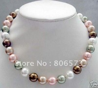 chocolate Gray white pink shell pearl necklace