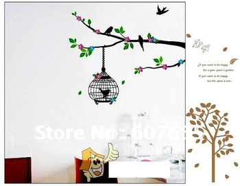Hot sale!Free shippng!200pc/lot,60*33cm,tree bird wall sticker,decoration wallpaper,home sticker