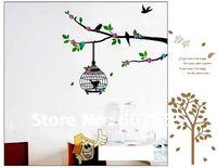 Hot sale!Free shippng!200pc/lot,60*33cm,tree bird wall sticker,decoration wallpaper,home sticker wall sticker