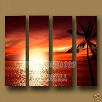 coconut oil painting canvas wall art  Oil Painting High quality Large Wall Art Modern red sunrise sunset seascape 4pcs /set B448