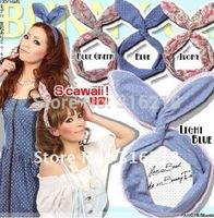 The rabbit ears shape headband/ fashion headband / chiffon&cotton hair band + free shipping