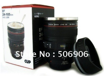 Freeshipping Caniam stainless steel interior EF 24-105mm Lens 24-105 1:1 Coffee Cup Mug with Cover CE Certification