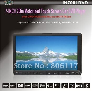 2Din 7inch Motorized panel Double din indash dvd player with bluetooth,GPS 3D DVB-T+4GB SD