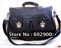 Wholesale Fashion Black pu leather women handbags, ladies two pockets shoudler bag, high quality retro messenger bags, freeship