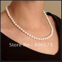 PEARL JEWELRY NEW AAA 7-8mm 18 inch AKOYA PEARL NECKLACE 14K