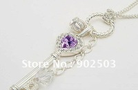 Purple crystal inlayed Key,crown pendants necklace,fashion necklace withe long chain +free shipping